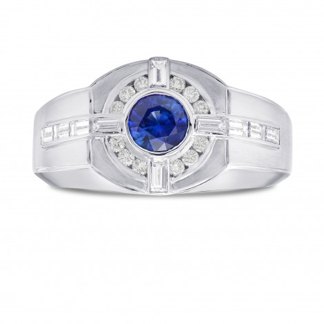 Sapphire and Diamond Round Brilliant Men's Ring, ARTIKELNUMMER 302349 (1,33 Karat TW)