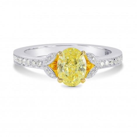Leaf Motif Pave Diamond Side-stone Ring Setting, SKU 3023S
