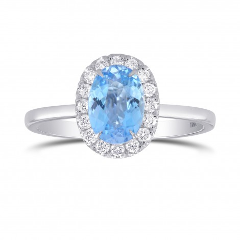 Blue Aquamarine Oval Gemstone Halo Ring, SKU 302923 (1.24Ct TW)