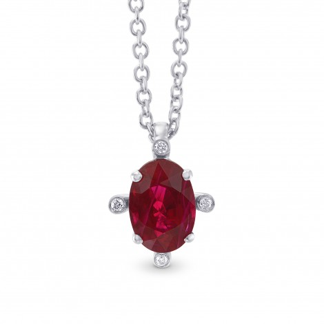 Red Ruby and Diamond Solitaire Pendant, SKU 303401 (0.99Ct TW)