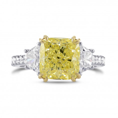 Fancy Yellow Cushion & Trapezoid Diamond Ring, SKU 303807 (4.29Ct TW)