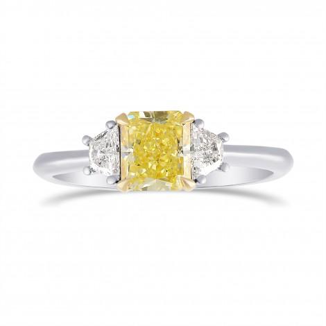 Fancy Yellow Radiant Diamond 3 Stone Ring, SKU 306472 (1.31Ct TW)