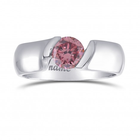 Fancy Vivid Pink Round Brilliant Solitaire Ring, SKU 308873 (0.70Ct)