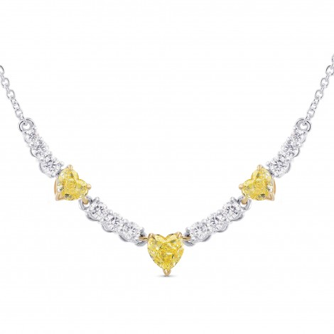 Fancy Yellow Heart shape and White Diamond Necklace, SKU 310461 (1.33Ct TW)