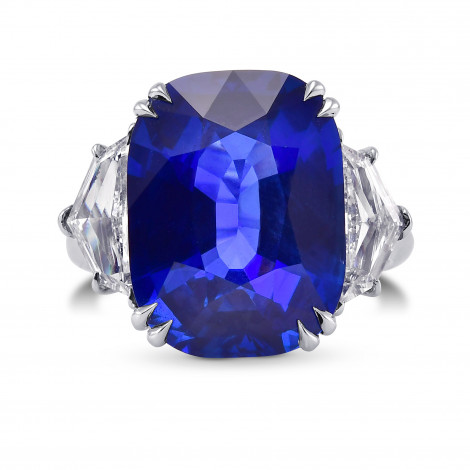 Extraordinary Cushion Blue Sapphire and Diamond 3 Stone  Ring, SKU 313159 (14.63Ct TW)