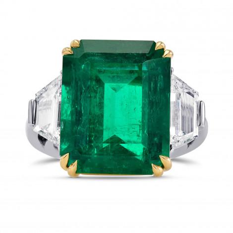 Extraordinary Emerald shape Green Emerald and Diamond 3 Stone Ring, SKU 313169 (16.48Ct TW)
