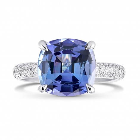 Cushion Violet Tanzanite Ring with Full Pave Diamond Rounded Shank, SKU 315287 (5.20Ct TW)