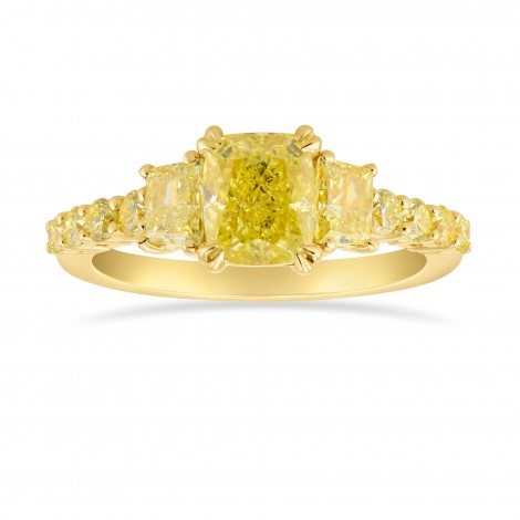 Fancy Yellow Cushion and Trapezoid Side Stone Ring, SKU 315775 (2.28Ct TW)
