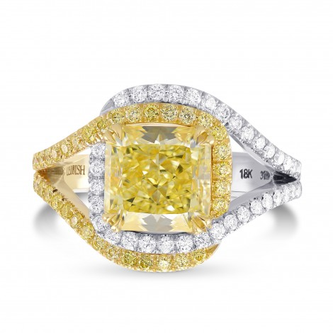Fancy Yellow, Radiant Pave Cross-Over Diamond Dress Ring, SKU 317912 (3.92Ct TW)