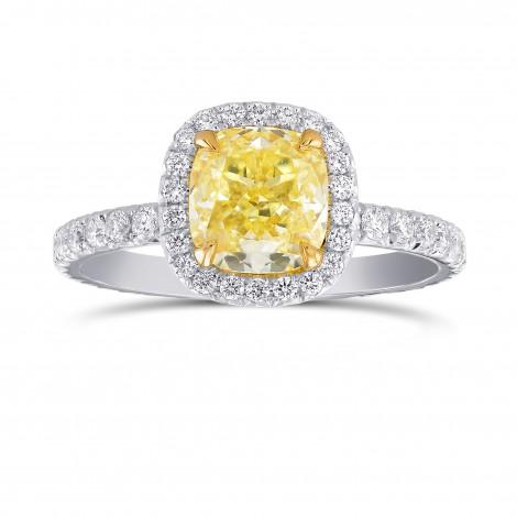 Fancy Yellow Cushion Diamond Halo Ring, SKU 320539 (2.91Ct TW)