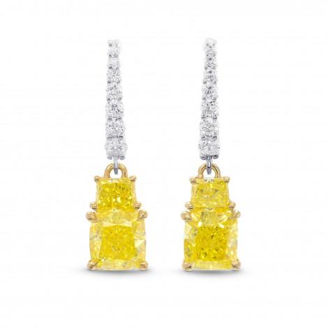 Fancy Intense Yellow Cushion and Vivid Yellow Taper Diamond Drop Earrings, SKU 320699 (2.83Ct TW)