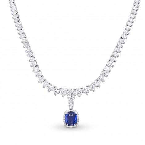 Extraordinary Round Diamond Necklace & Detachable Sapphire Halo Pendant, SKU 320901 (29.23Ct TW)