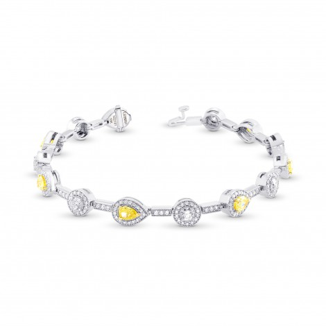 Fancy Yellow and White Diamond Halo Milgrain Bracelet, SKU 322181 (4.18Ct TW)