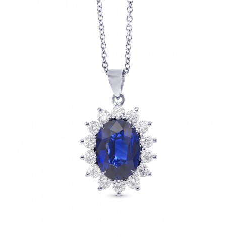 Royal Vivid Blue Sapphire & Diamond Pendant, SKU 322575 (3.53Ct TW)