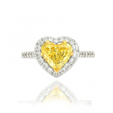 Fancy Intense Yellow Diamond Heart Halo Engagement Ring, SKU 32262 (1.92Ct TW)