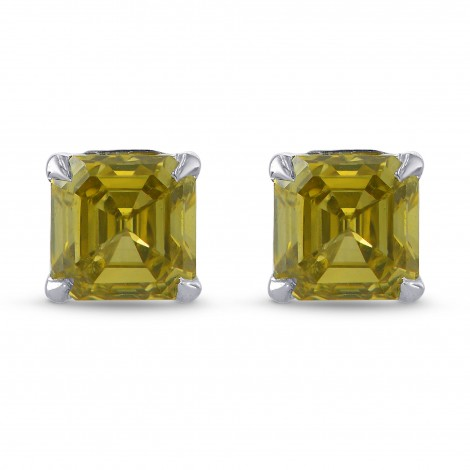 Fancy Brownish Greenish Yellow Emerald Brilliant Stud Earrings, SKU 323651 (0.54Ct TW)