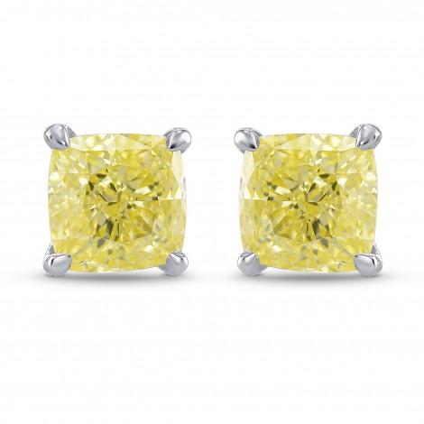 Fancy Yellow Cushion Diamond Stud Earrings, ARTIKELNUMMER 323838 (1,53 Karat TW)