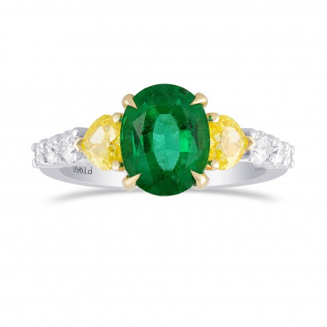 Oval Green Emerald Gemstone and Mix Diamonds Side Stone Ring, SKU 325586 (2.50Ct TW)
