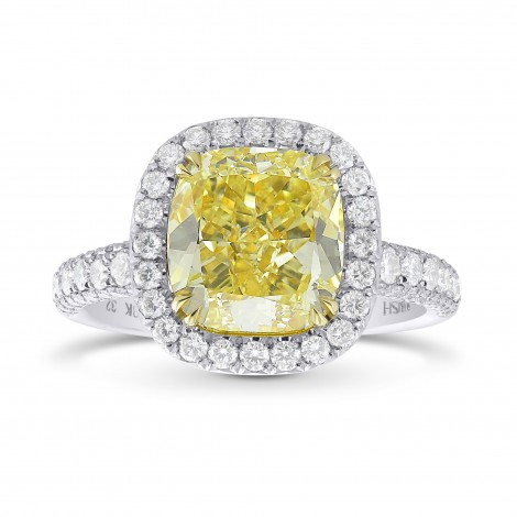 Extraordinary Fancy  Yellow Cushion Diamond  Halo Ring, SKU 325890 (4.45Ct TW)