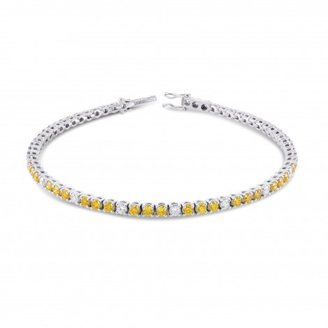 Round Brilliant Yellow and White Tennis Bracelet, SKU 331952 (3.37Ct TW)