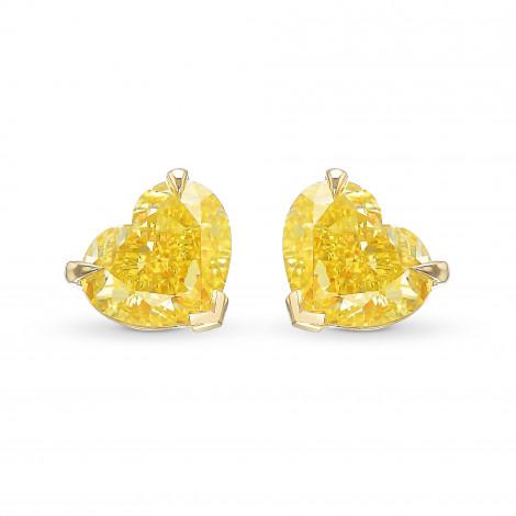 Fancy Intense Yellow Heart Stud Earrings, SKU 331958 (2.51Ct TW)