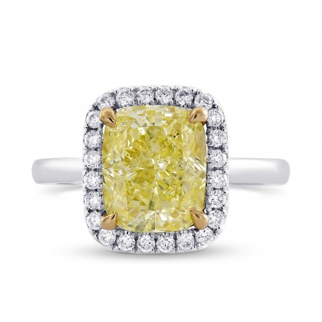 Fancy Light Yellow Cushion Diamond Halo Ring, SKU 333348 (2.62Ct TW)