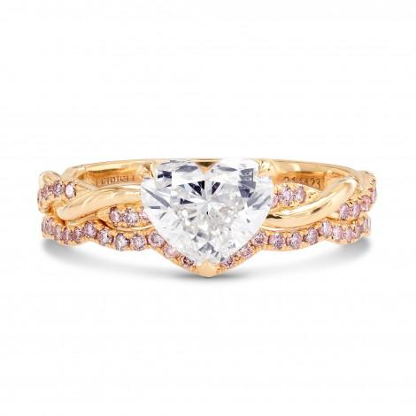 Rose Gold Woven Heart & Pink Diamond Engagement Wedding Ring Setting, SKU 3395WS