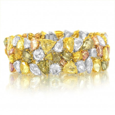 Multicolor Couture Rosecut Diamond Bracelet, 54.84ct 112 stones set in 18K Gold, SKU 34830 (54.84Ct TW)