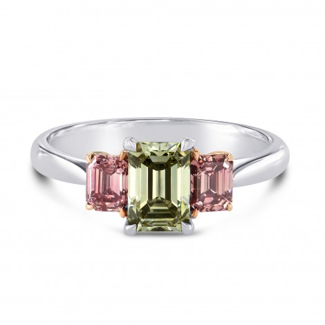 A Green and Brownish Pink Emerald Diamond 3 Stone Ring, SKU 34852 (1.62Ct TW)