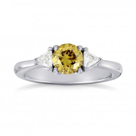Fancy Brownish Yellow Brilliant Shape Diamond 3 Stone Ring, SKU 34969 (0.87Ct TW)