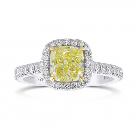 Fancy Light Yellow Cushion Halo Diamond Ring, SKU 355423 (1.96Ct TW)
