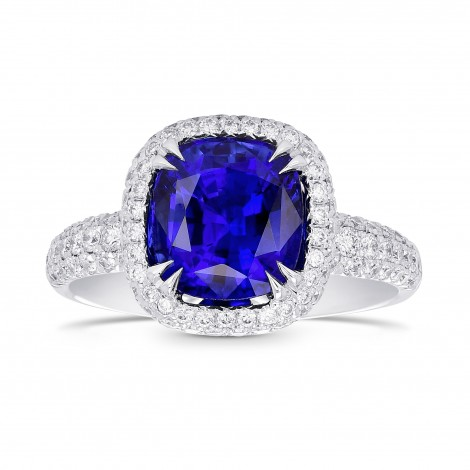 Royal Blue Cushion Sapphire and Diamond Extraordinary Ring, SKU 359661 (3.89Ct TW)