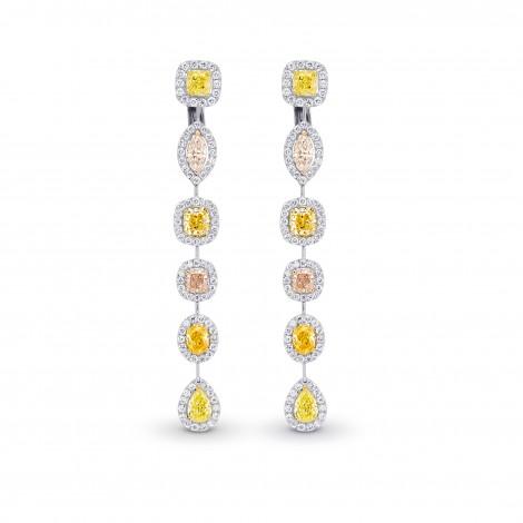 Extraordinary Multi-Color Diamond Drop Halo Earrings, SKU 361995 (6.89Ct TW)