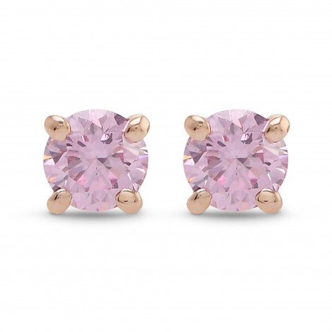 Argyle Fancy Intense Pink Round Brilliant Stud Earrings, SKU 365893 (0.27Ct TW)