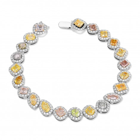 Multicolored and Mixed Shape Couture Halo Diamond Bracelet, SKU 366732 (11.46Ct TW)