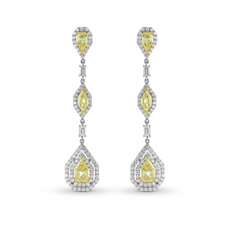 Fancy Light Yellow Marquise, Pear and Kite Diamond Drop Earrings, SKU 36816 (4.28Ct TW)