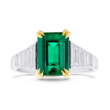 Colombian Emerald and Diamond Sidestone Ring, SKU 369722 (3.17Ct TW)