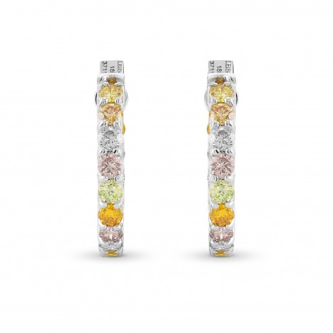 Multicolored Diamond Hoop Earrings, SKU 371183 (2.46Ct TW)