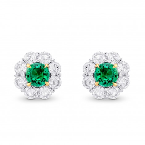 Green Emerald & Diamond Round Brilliant Halo Earrings, ARTIKELNUMMER 372765 (2,59 Karat TW)