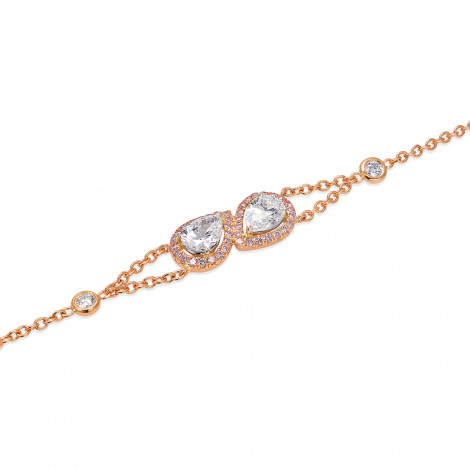 Pear Shape Collection Color and Fancy Pink Diamond Halo Bracelet, SKU 373959 (1.60Ct TW)