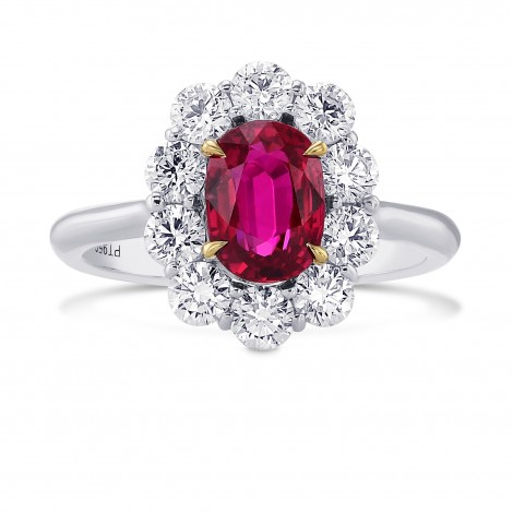 Oval Mozambique Red Ruby and Diamond Halo Ring., SKU 374207 (2.67Ct TW)
