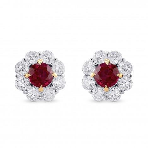 Pigeon Blood Ruby & Diamond Floral Halo Earrings, SKU 374220 (2.86Ct TW)