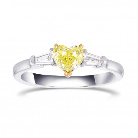 Fancy Light Yellow Heart Shape Diamond 3 Stone Ring, SKU 374699 (0.94Ct TW)