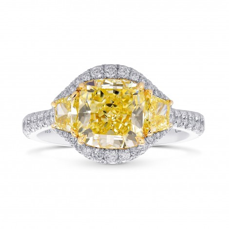 Fancy Yellow Cushion 3 Stones Halo Diamond Ring, SKU 376062 (3.02Ct TW)