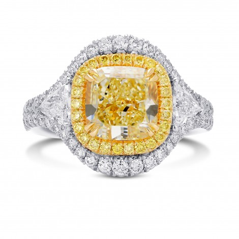 Light Yellow Double Halo 3 Stones Diamond Ring, ARTIKELNUMMER 376240 (4,87 Karat TW)