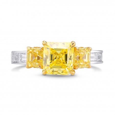 Fancy Vivid Yellow Asscher Side Stone Diamond Ring, SKU 376241 (3.66Ct TW)