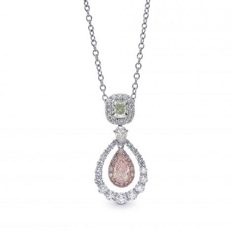 Fancy Light Green Radiant and Fancy Light Pink Pear Diamond Drop Halo Pendant, SKU 377490 (1.73Ct TW)