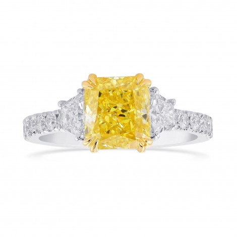 Fancy Intense Yellow Radiant & Trapezoid Diamond Pave Side-stone Ring, SKU 379046 (2.17Ct TW)
