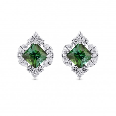 Couture Green Tourmaline and Diamond Stud Earrings, SKU 381383 (4.00Ct TW)
