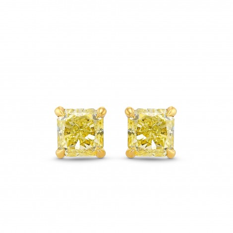 Fancy Yellow Radiant Diamond Stud Earrings, SKU 384996 (0.56Ct TW)